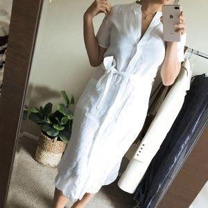 JAMES PERSE White Linen Button Down Dress